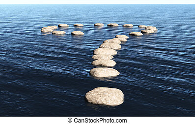 Question mark of stones on the water
