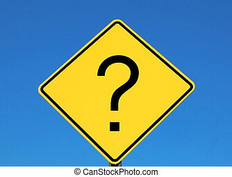 Question mark on a yellow road sign