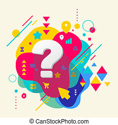 Question mark on abstract colorful spotted background with different elements. Flat design.