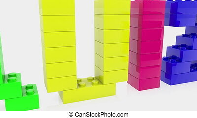 Question mark on cubes with quiz concept on white background