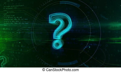 Question mark on cyber background - Question mark sign on...