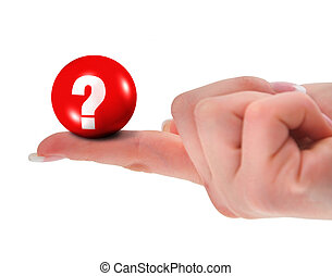 Question mark on finger, shallow DOF, there is no...