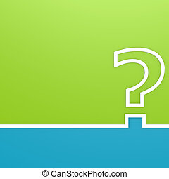 Question mark on green and blue background image, 3d rendering