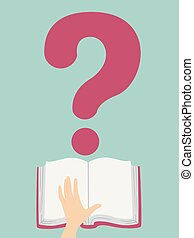 Question Mark Open Book Hand Illustration