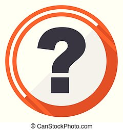 Question mark orange flat design vector web icon