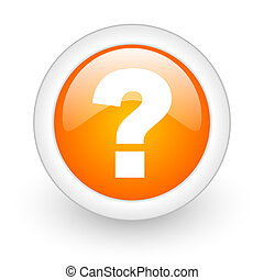 question mark orange glossy web icon on white background