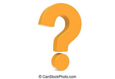 Question Mark. - Orange Question Mark, standing vertical .