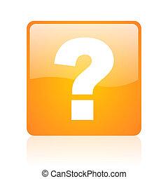 question mark orange square glossy web icon