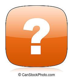 question mark orange square web design glossy icon