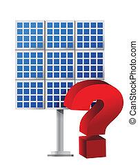 Question mark over a solar panel illustration design