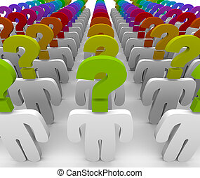 A crowd of people with question mark heads symbolizing wonder and confusion, in need of customer support to answer questions