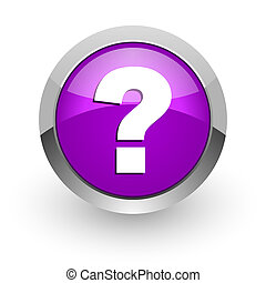 question mark pink glossy web icon