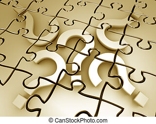 Question mark puzzle 3d rendered graphic