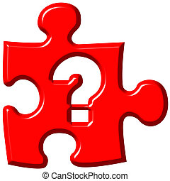 Question mark puzzle piece isolated in white