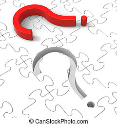 Question Mark Puzzle Shows Asking Questions - Question Mark...