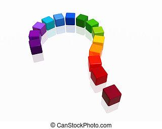 question-mark rainbow - 3d colour boxes arranged like...