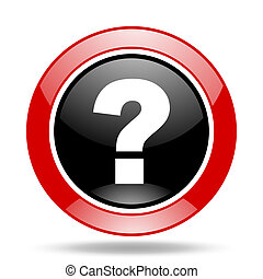 question mark red and black web glossy round icon