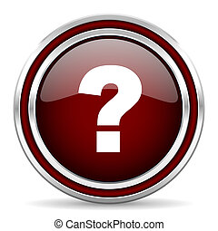 question mark red glossy web icon