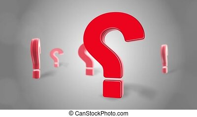 Question mark Red sign wall 3d Rotation Loop Animation for test, exam and looking for answers perplexed Situation. Ask, Asking, Essentials, Doubts, puzzle, doubt, confusion, thinking. ideas,
