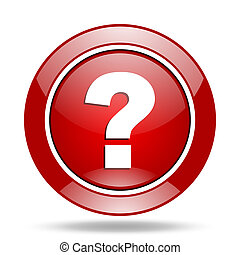 question mark red web glossy round icon
