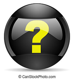 question mark round black web icon on white background