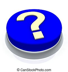 Question mark round button 3d. Isolated on white.