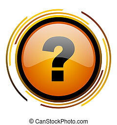 question mark round design orange glossy web icon