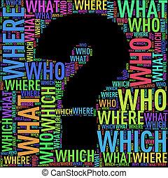 Question mark shape wordcloud wordtags