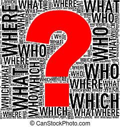 Question mark shape wordcloud wordtags - Illustration of...