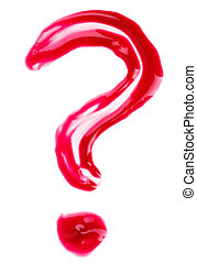 Question-mark shaped red fluid lips gloss samples, isolated ...