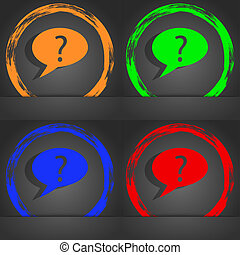 Question mark sign icon. Help speech bubble symbol. FAQ sign. Fashionable modern style. In the orange, green, blue, red design.