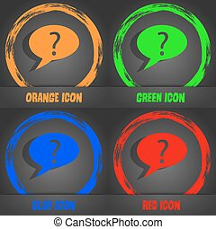 Question mark sign icon. Help speech bubble symbol. FAQ sign. Fashionable modern style. In the orange, green, blue, red design. Vector