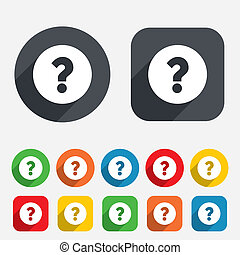 Question mark sign icon. Help symbol. FAQ sign. Circles and...