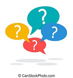 Question mark sign in speech bubble. Ask