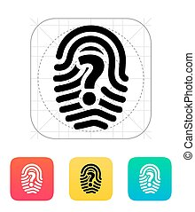 Question mark sign thumbprint icon. Vector illustration.