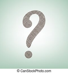 Question mark sign. Vector. Brown flax icon on green background with light spot at the center.