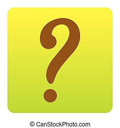 Question mark sign. Vector. Brown icon at green-yellow gradient square with rounded corners on white background. Isolated.