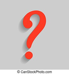 Question mark sign. Vector. Red icon with soft shadow on gray background.