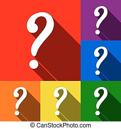 Question mark sign. Vector. Set of icons with flat shadows at red, orange, yellow, green, blue and violet background.