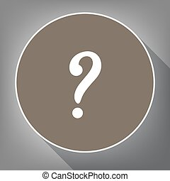 Question mark sign. Vector. White icon on brown circle with white contour and long shadow at gray background. Like top view on postament.