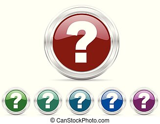 Question mark silver metallic web icon vector set