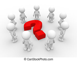 Question mark - 3d people - men, person in a circle, and a...