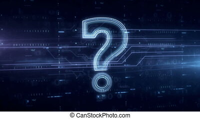 Question mark symbol blue hologram - Question mark symbol...