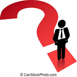 Question mark symbol business man search find solution