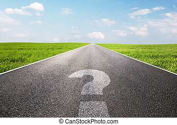Question mark symbol on long empty straight road, highway. ...