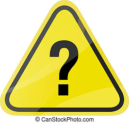question mark traffic sign vector on yellow background