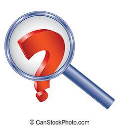 Question mark under magnifier glass