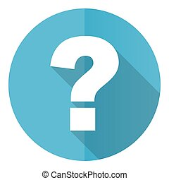 Question mark vector icon, flat design blue round web button isolated on white background