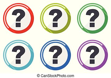 Question mark vector icons, set of colorful flat design internet symbols on white background