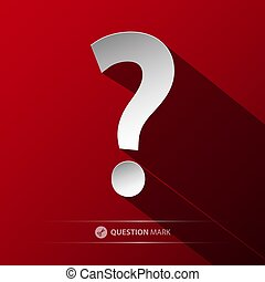 Question Mark Vector Symbol. Paper Cut Icon on Red Background.